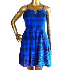 L'amour Junior Large Plaid Sleeveless Mini Dress